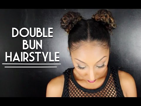 Bun Hairstyles For Curly Hair : Double bun hairstyle for natural curly hair biancareneetoday