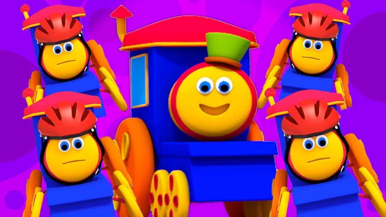 Bob il treno cinque piccoli bambini saltare