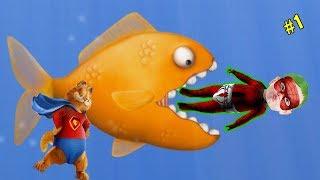 Örümcek Bebek Garfield İle Her Şeyi Yiyen Balık (Tasty Blue) Oyunu Oynuyor #1 🐠🐠🐠✊✊✊