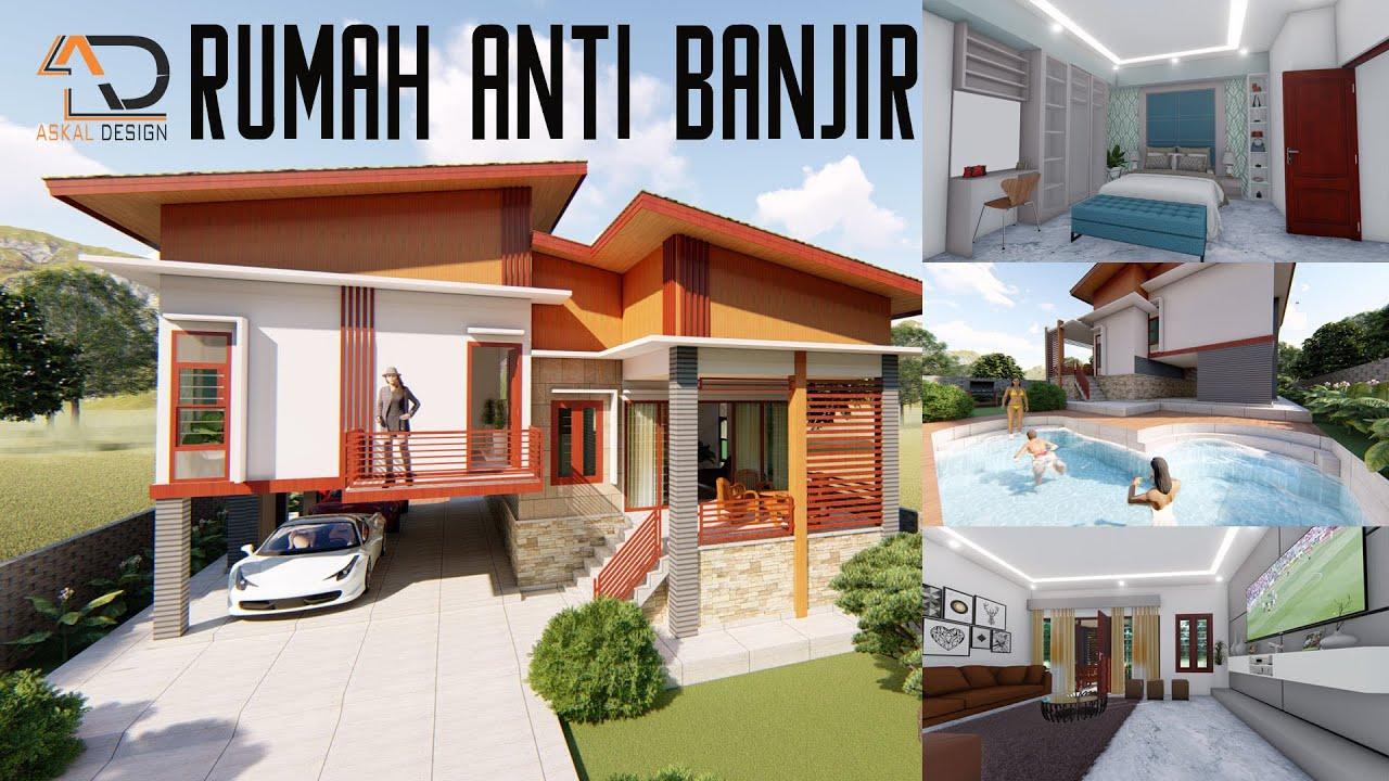 Desain Rumah Panggung Anti Banjir 11 X 14 M Iterior Dan Kolam