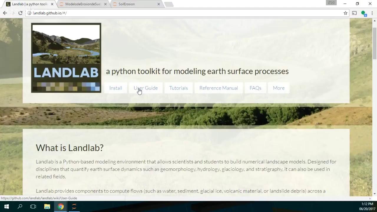 Modeling of Soil Erosion with Landlab in Python – Open