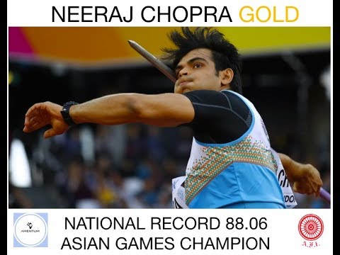 National Record 88.06 Neeraj Chopra Winning Gold Asian Games