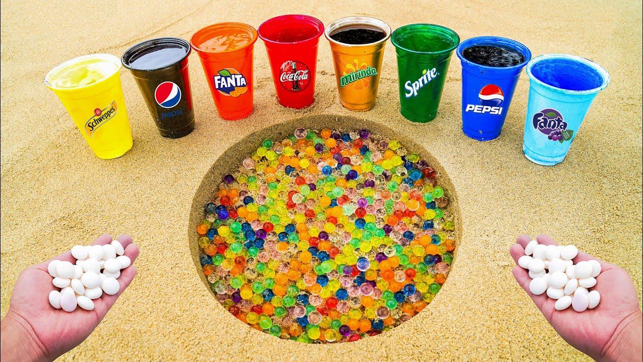 Orbeez and Mentos vs Different Fanta, Pepsi, Coca Cola, Mirinda, Schweppes, Sprite Underground!
