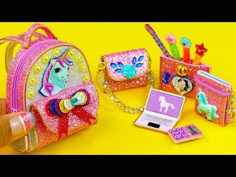 DIY Miniature UNICORN School Supplies ~ Backpack, Notebook, Pen, Pencil Case