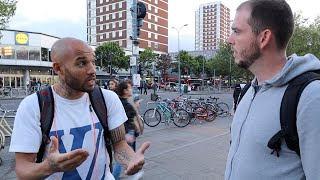 Ministering to a tormented man in Shepherd's Bush, London, England