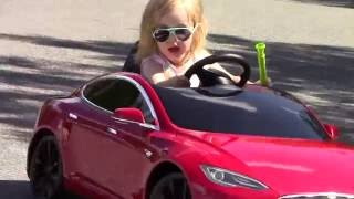 Tesla Model S Radio Flyer - 3yr old toddler discovers her surprise