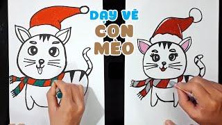 Dạy vẽ con Mèo Giáng sinh ♥ How To Draw A Christmas Cat ♥
