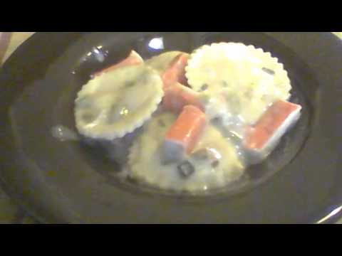 Cheese Ravioli and Imitation Crab Meat