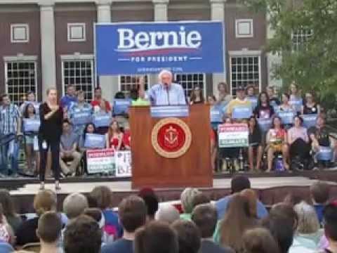 Bernie Sanders Speaks at Coe College  in Cedar Rapids Iowa Part 1