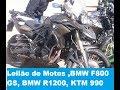 Leilão de Moto ,BMW F800 GS, BMW R1200 Adventure, KTM 990 adventure LC8