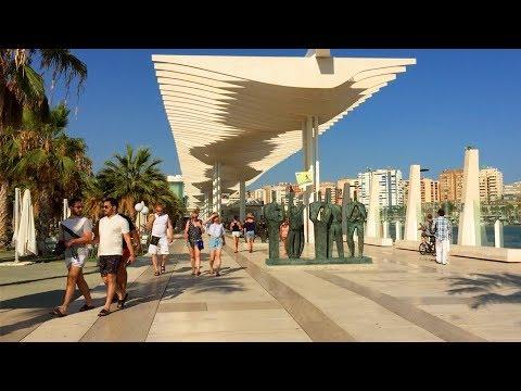 MÁLAGA WALK | Harbour/Port Incl. Palmeral Pergola And Muelle Uno | Spain
