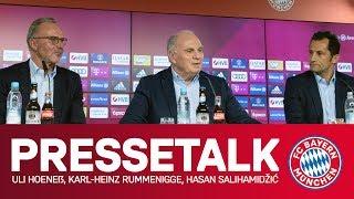 Am freitagmittag traten bayerns vorstandsvorsitzender karl-heinz rummenigge, vereinspräsident uli hoeneß und sportdirektor hasan salihamidzic gemeinsam vor d...