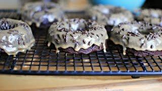 Peanut Butter Glazed Brownie Doughnuts