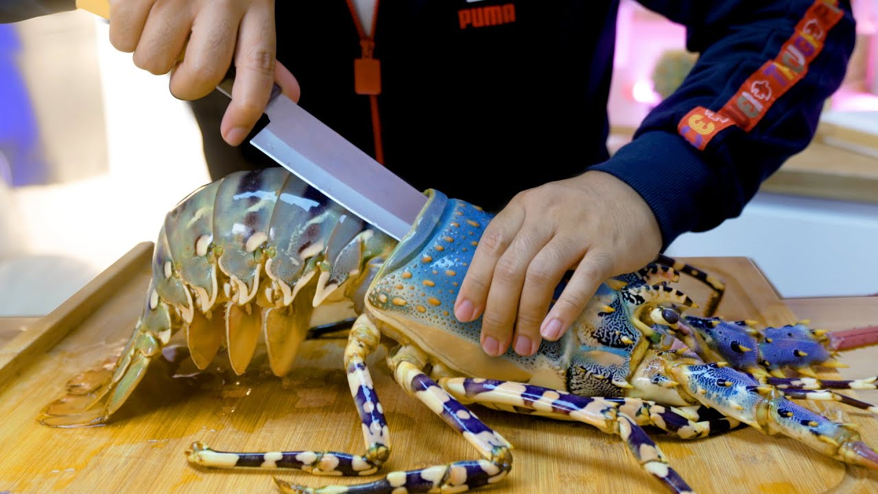 กุ้งมังกรยักษ์ซาซิมิ แล่กินเองครั้งแรก สดๆ เป็นๆ