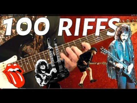 100 BEST ROCK RIFFS EVER!!  Guitar Lesson