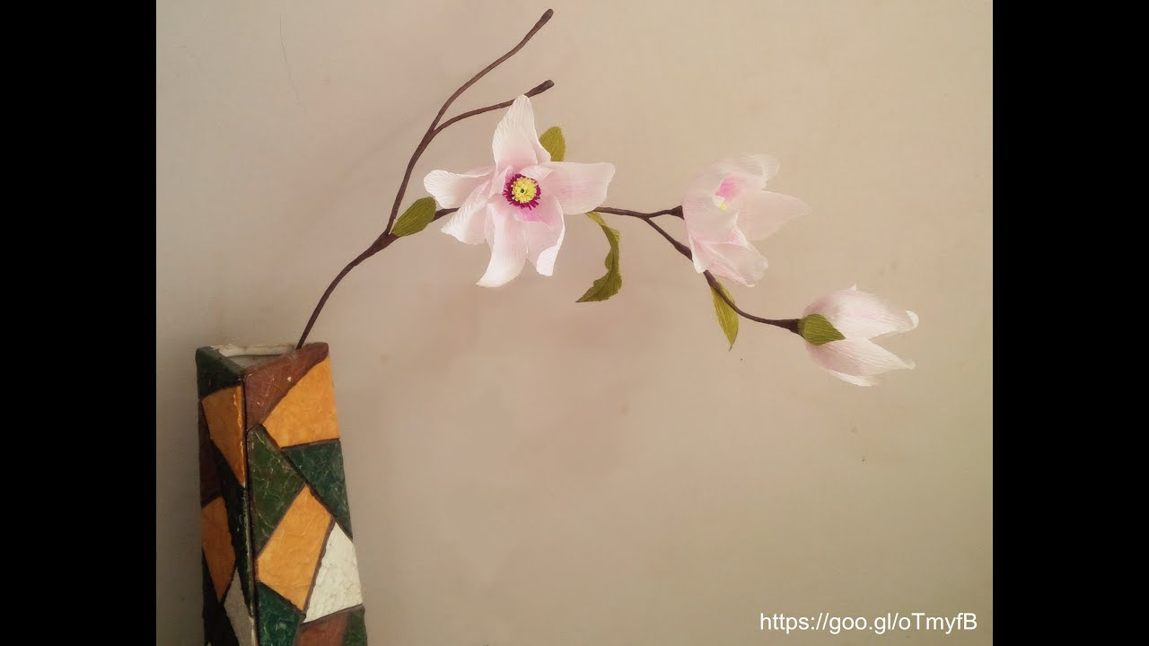 Magnolia Flower With Crepe Paper Craft Tutorial Youtube