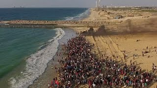 Drone footage of Gaza border and flotilla protest