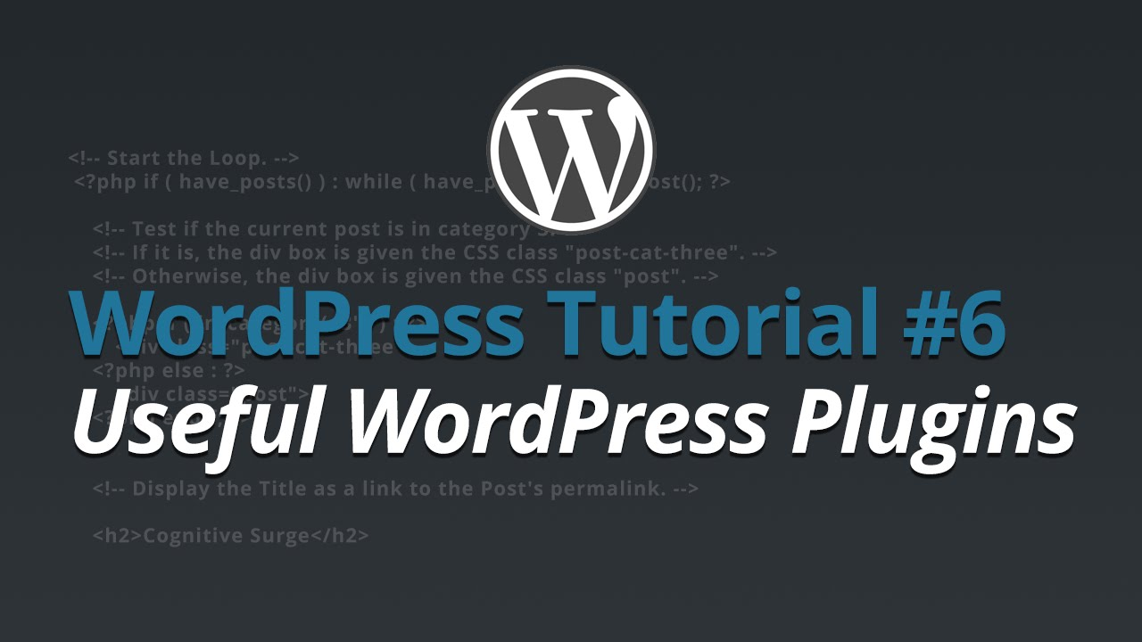 WordPress Tutorial - #6 - Useful WordPress Plugins