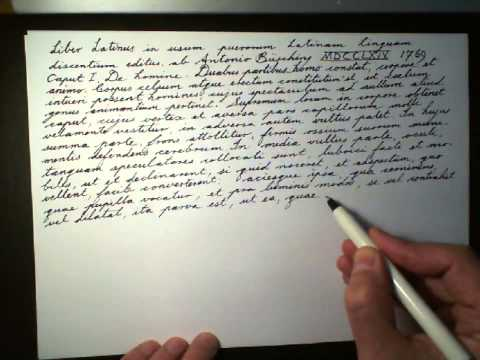 Busching's Liber Latinus 01 Write Cursive Handwriting script or copperplate Latin Language