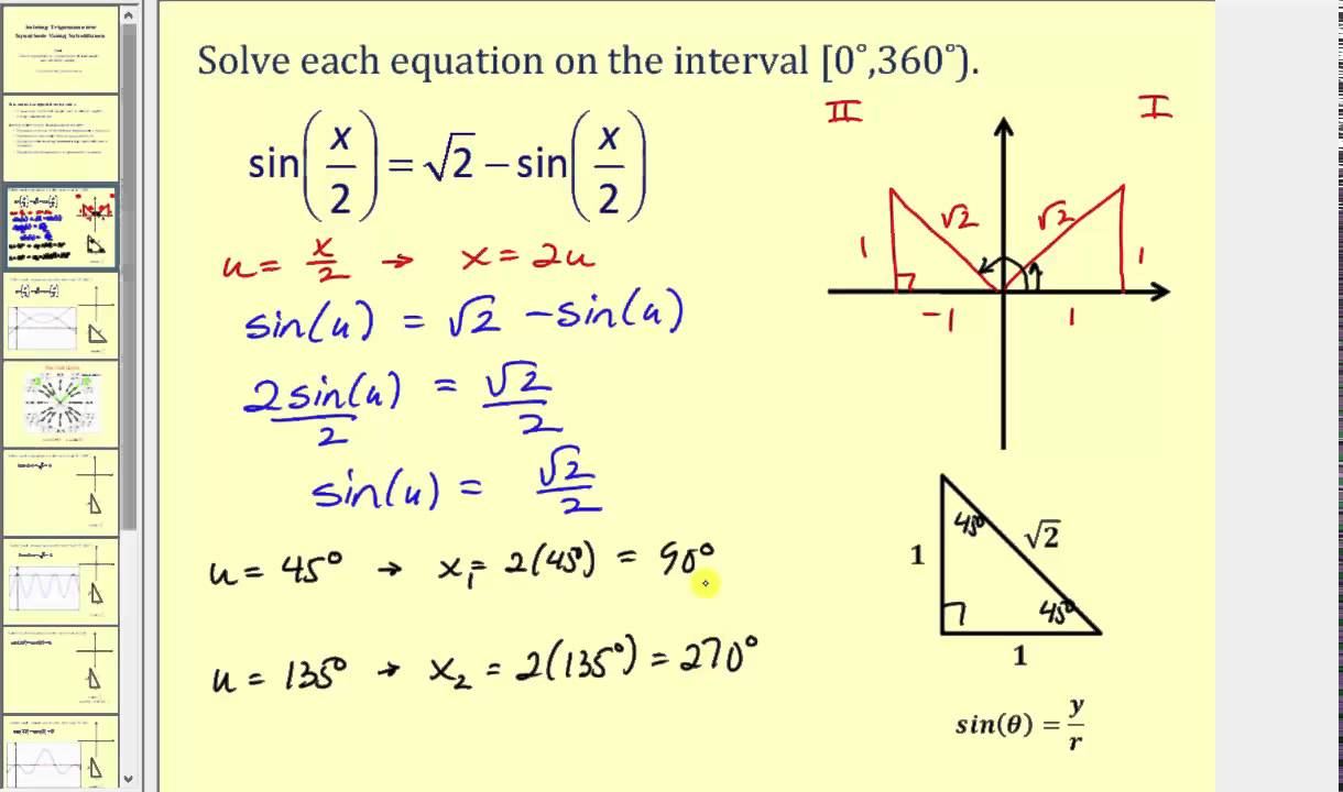 Solving Trigonometric Equations Using Substitution for Angles - YouTube