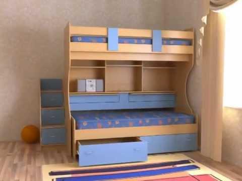 Ролик Двухъярусная кровать Дуэт-4 (бук/синий)
