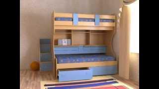 Двухъярусная кровать Дуэт-4 (бук/синий)(Двухъярусная кровать Дуэт-4 оборудована двумя столами, что позволяет создать достаточно компактный детски..., 2012-12-15T19:55:47.000Z)