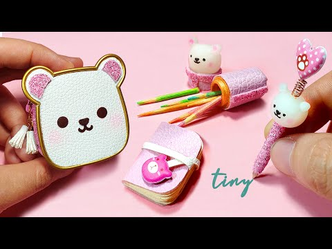 DIY Miniature School Supplies ♥ BEAR CUTE ♥ Backpack - Book - Pen and Pencil case