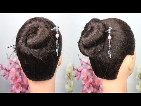 Quick & Easy Bun Hairstyle using bunstick - Hairstyles Tricks and Hacks - Hairstyles for girls thumbnail