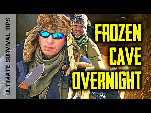 """Dual Survival"" WINTER Overnight - Mountain CAVE Bushcraft + Survival Kit / Gear Review"