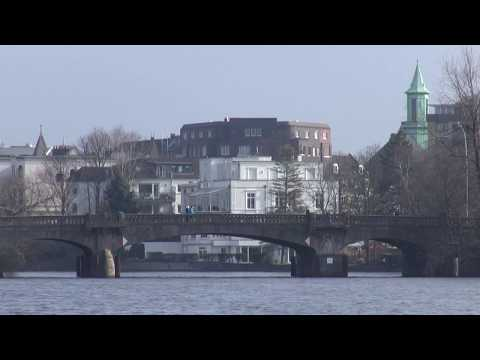 The beautiful Alster lakes of Hamburg in HD
