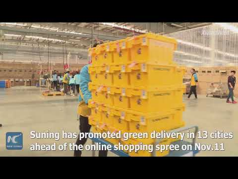 China's e-commerce giant promotes green delivery ahead of online shopping spree