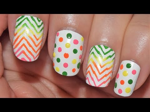 Polka Dots And Rainbow Chevron Nail Art Tutorial Colaboración BPS 22 | CristiNails thumbnail