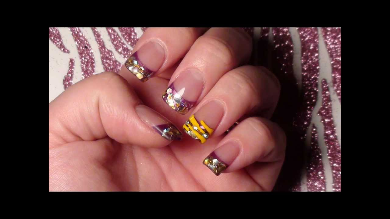 Nail Prep/LSU Acrylic Nails- Geaux Tigers!! - YouTube