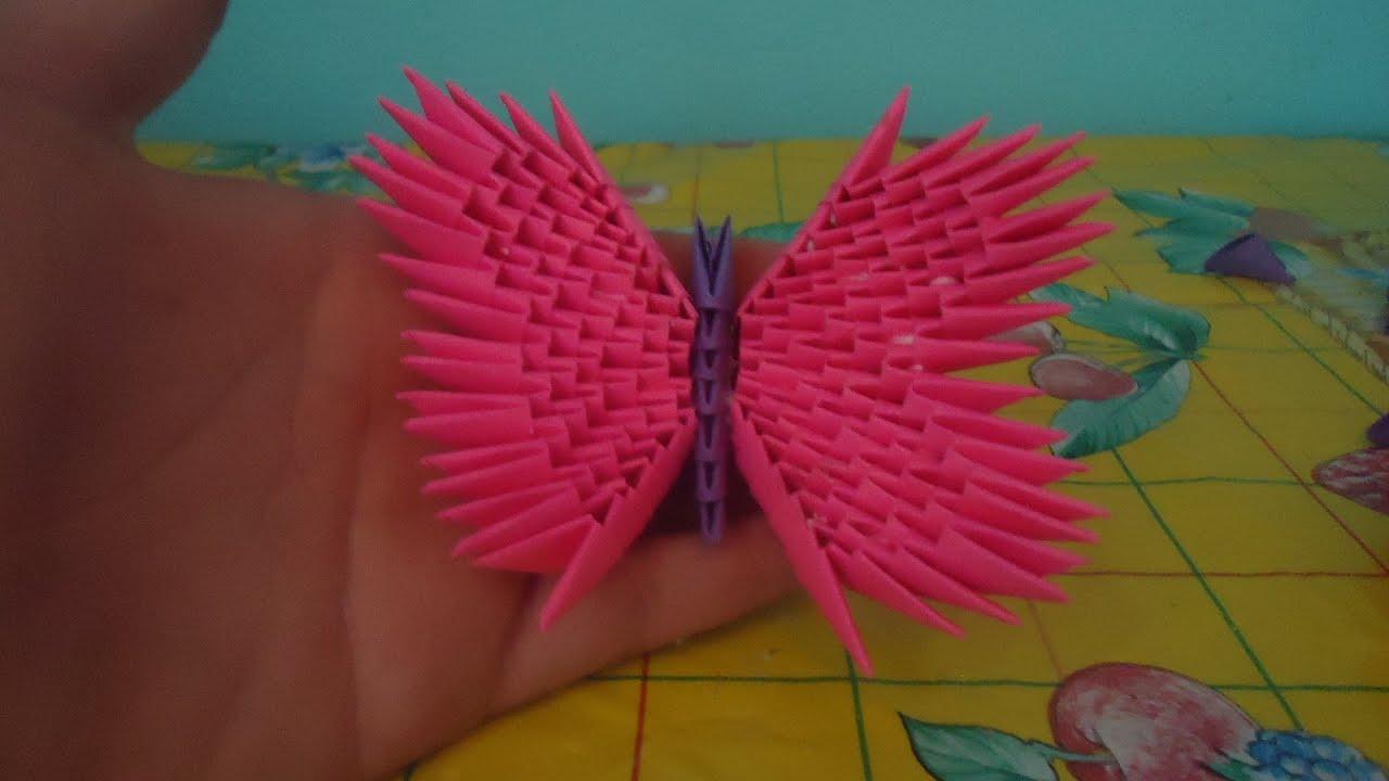 Como hacer una mariposa de origami 3d youtube - Como hacer mariposas de papel ...