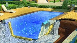 Пластиковый Бассейн для Дачи. Монтаж бассейна и оборудования. Строительство бассейна ч 2