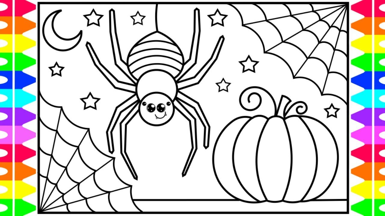 How to Draw a CUTE HALLOWEEN SPIDER for Kids 🎃🕷🕸💜🖤💚 Cute Spider  Drawing and Coloring Pages