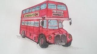 İki Katlı Otobüs Timelapse Çizim /London  Roadmaster  Bus Timelapse Drawing