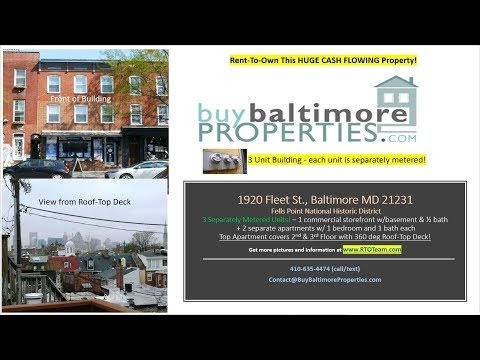 Rent-To-Own 1920 Fleet St , Baltimore MD 21231| 3-Unit Cash Flowing Property in Fells Point Maryland
