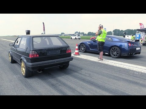 VW Golf Mk2 1200 HP vs Porsche 997 T 9FF - Race, 366 KM/H BRUTAL Acceleration