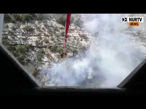 Пожар в государственном парке сняли с высоты птичьего полета в Карагандинской области