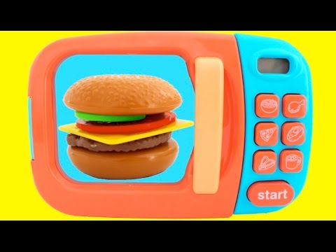 Thumbnail: Toy Microwave Hamburger Playset Play Doh Learn Fruits & Vegetables with Velcro Toys for Kids