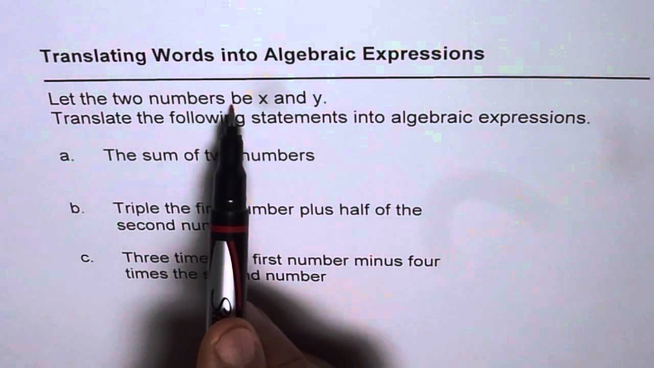 translating word and phrases to algebraic