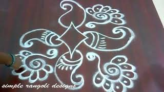 Simple  friday kolam designs - creative freehand rangoli without dots -   muggulu  designs