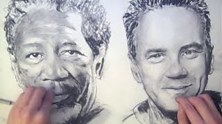 TWO HANDED Drawing - Shawshank Redemption - ambidextrous Art Drawing Video