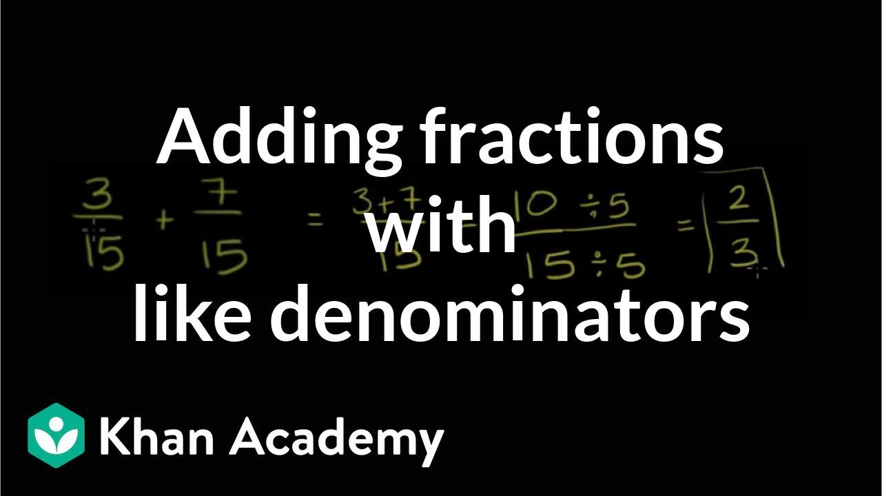 Adding fractions with like denominators (video) | Khan Academy