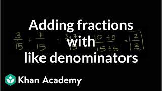 Adding fractions with lİke denominators | Fractions | Pre-Algebra | Khan Academy