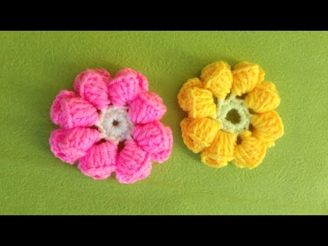 Hướng dẫn móc hoa cúc len: Mẫu hoa cúc 8 cánh