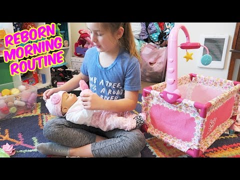 Reborn Baby Doll Morning Routine with Madison and Reborns Baby Sophia