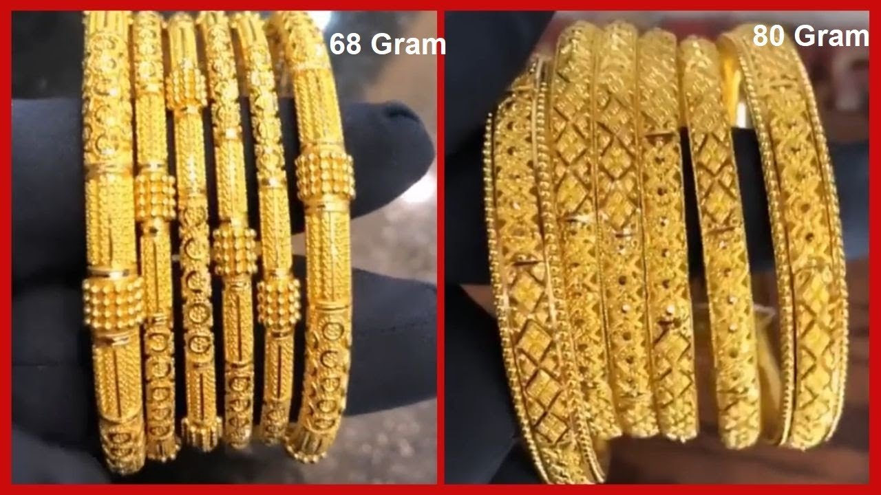 22k Saudi Gold Bangle Sets Six Piece Designs With Weight Youtube