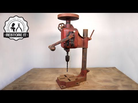 Antique Rusty Bench Drill - Detailed Restoration